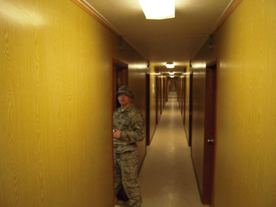 Hallway of our lodging facility at Al Udeid.  Pretty nice considering it is over 100 degrees outside most of the time.