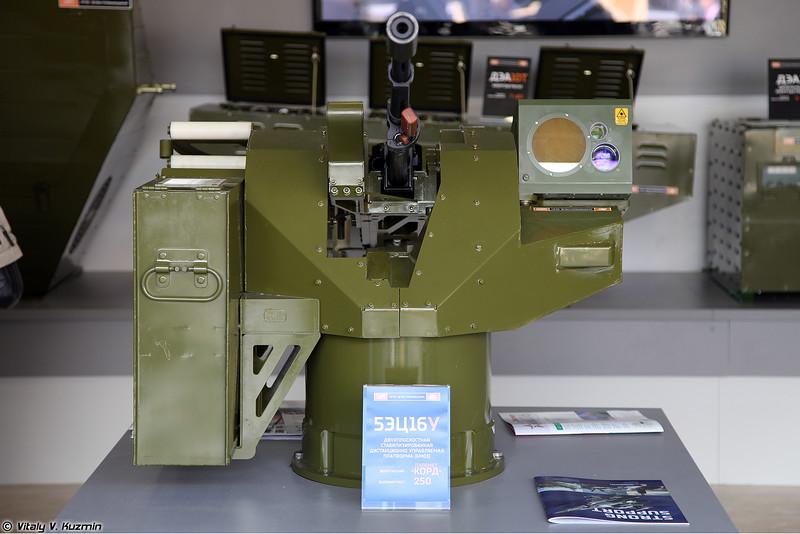 Двухплоскостная стабилизированная дистанционно управляемая платформа 5ЭЦ16У с пулеметом Корд (5ETs16U remote weapon station with Kord machine gun)