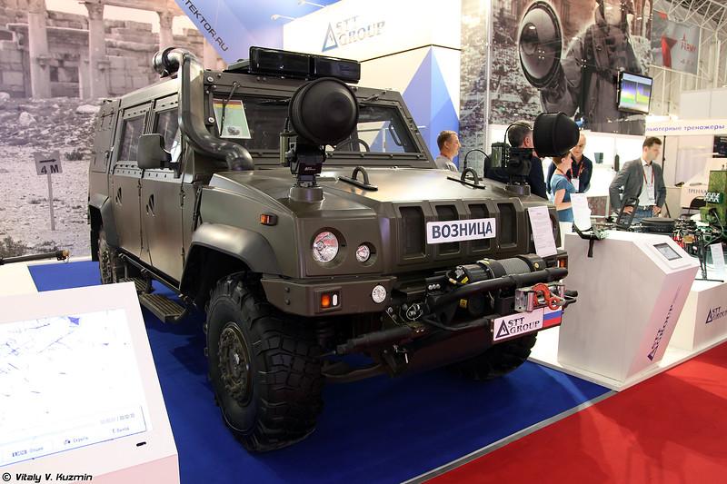 Комплекс обнаружения и блокировки взрывных устройств Возница на бронеавтомобиле Рысь Iveco LMV (Voznitsa explosive devices jammer mounted on Iveco LMV)