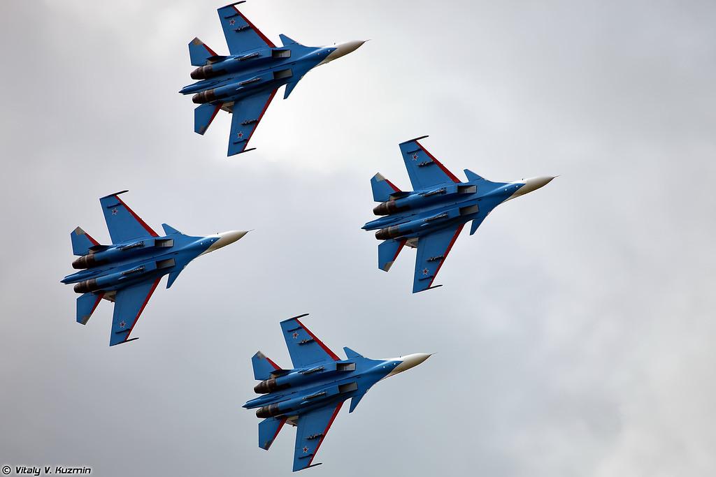 АГВП Русские Витязи на Су-30СМ (Russian Knights aerobatic team Su-30SM)