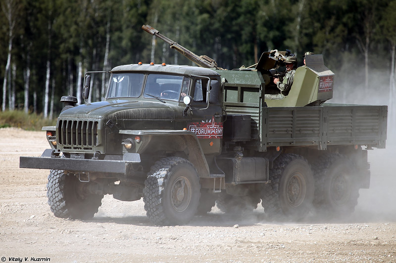Зенитная установка ЗУ-23М на шасси Урал-4320 (ZU-23M on Ural-4320 chassis)