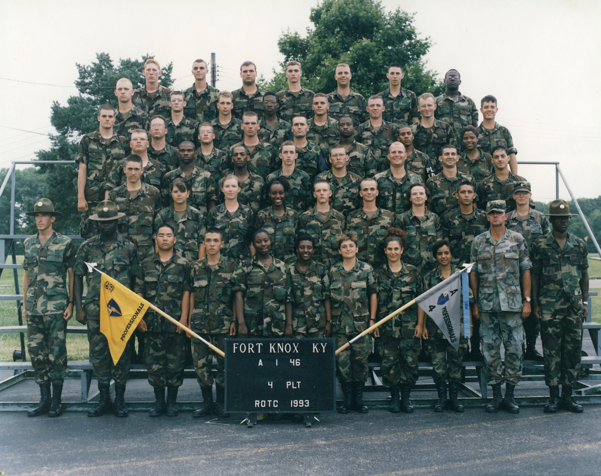 """Basic Camp"", Fort Knox, Kentucky 1993.  This was the ROTC summer training for cadets entering the 2 year ROTC in program (4 year ROTC cadets skipped this).  I am in the 2nd row from the top, 1st on the left."