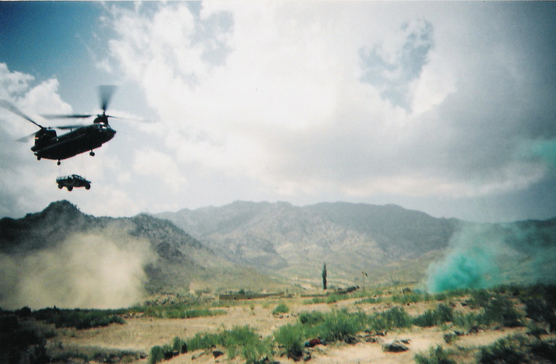 2003 - Sling-load of an M1026 HMMWV in the mountains of Afghanistan near the Pakistani border.