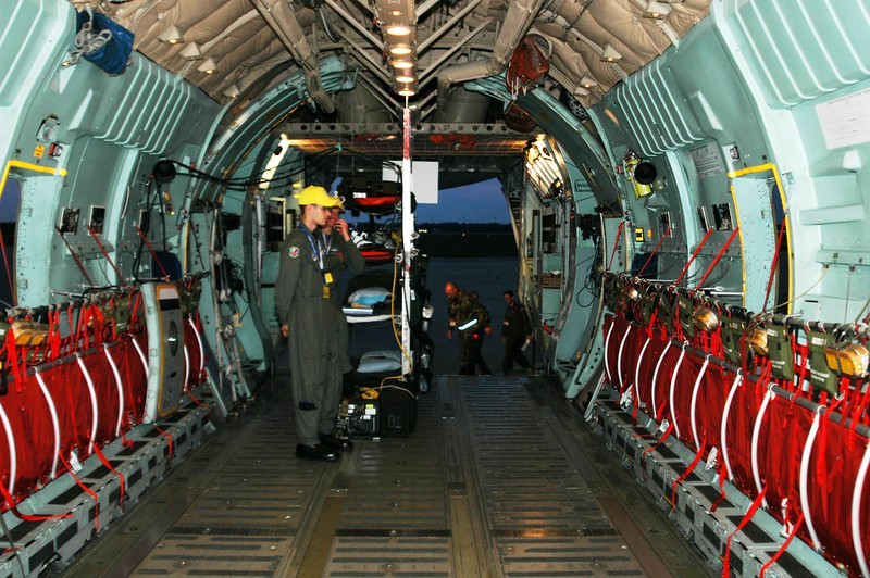 Interior image of the C-141 with stanchion configured for aeromedical evacuation.<br /> ~ Image by Martin McKenzie All Rights Reserved ~