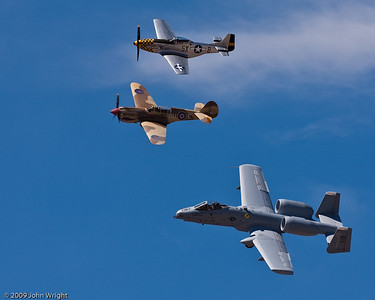 USAF Heritage Flight, top to bottom:  P-51D  Mustang, P-40N Warhawk and A-10 Thunderbolt II