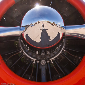 Portrait of the photographer in the spinner of the T-6