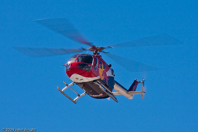 Chuck Aaron in the Red Bull MBB BO-105 helicopter