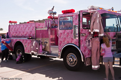 PinkRibbonTour.com fire engine touring in behalf of breast cancer protection