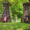 American Flags have been put out on the graves of veterans in the Lowell Cemetery on 77 Knapp Avenue for Memorial Day this Monday. These two flags are on the graves of Civil War brothers Edward Gardner Abbott and Henry Livermore Abbott both killed in action. SUN/JOHN LOVE
