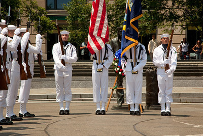 US Navy Honor Guard Retires the colors. Naval District Washington's Wreathlaying ceremony accompanied by the U.S. Navy Band, with speaker RDML Patty Wolfe, SC, USN, Commander of Naval Expeditionary Logistics Support Group (NAVELSG) at the United States Navy Memorial in Washington DC on Memorial Day May 31, 2010. (Photo by Jeff Malet)