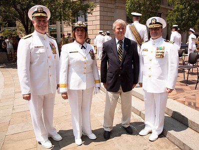 Naval District Washington's Wreathlaying ceremony (left to right), Rear Admiral Patrick J. Lorge, Commandant, Naval District Washington; RDML Patty Wolfe, SC, USN, Commander of Naval Expeditionary Logistics Support Group (NAVELSG);  L. Bruce Laingen, President of the American Academy of Diplomacy; Chaplain Commander Kieran Mandato. On Memorial Day May 31, 2010. Lowell Bruce Laingen was the senior American official held hostage during the Iran hostage crisis. (Photo by Jeff Malet)
