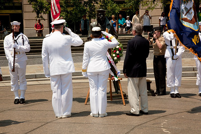 Naval District Washington's Wreathlaying ceremony (left to right) L. Bruce Laingen, President of the American Academy of Diplomacy; RDML Patty Wolfe, SC, USN, Commander of Naval Expeditionary Logistics Support Group (NAVELSG); Rear Admiral Patrick J. Lorge, Commandant, Naval District Washington. On Memorial Day May 31, 2010. Lowell Bruce Laingen was the senior American official held hostage during the Iran hostage crisis. (Photo by Jeff Malet)