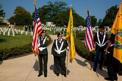 Former WAC's Sheila Smith and Beverly Gusler wait for the Presentation of Colors at Arlington National Cemetery on the day of the 142nd Memorial Day observance at the cemetery on  May 31, 2010 (Photo by Jeff Malet)
