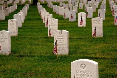 More than 350,000 American Flags decorate the graves at Arlington National Cemetery in preparation for Memorial Day weekend.  Friday May 28, 2010 (Photo by Jeff Malet)