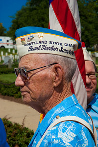 Pearl Harbor survivor waits for the Presentation of Colors at Arlington National Cemetery on the day of the 142nd Memorial Day observance at the cemetery on  May 31, 2010 (Photo by Jeff Malet)