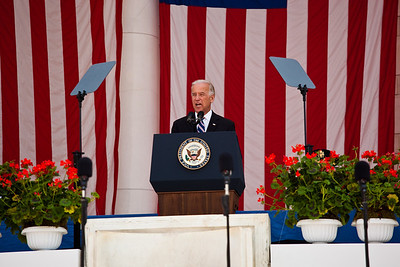 Vice President Joe Biden delivered the keynote address at the Arlington National Cemetery during Memorial Day observances  on  May 31, 2010 (Photo by Jeff Malet)
