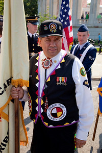 A member of the Lumbee Tribe of North Carolina awaiting Presentation of Colors at Arlington National Cemetery on the day of the 142nd Memorial Day observance at the cemetery on  May 31, 2010 (Photo by Jeff Malet)