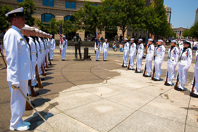 US Navy Honor Guard Presentation of the Colors. Naval District Washington's Wreathlaying ceremony accompanied by the U.S. Navy Band, with speaker RDML Patty Wolfe, SC, USN, Commander of Naval Expeditionary Logistics Support Group (NAVELSG) at the United States Navy Memorial in Washington DC on Memorial Day May 31, 2010. (Photo by Jeff Malet)