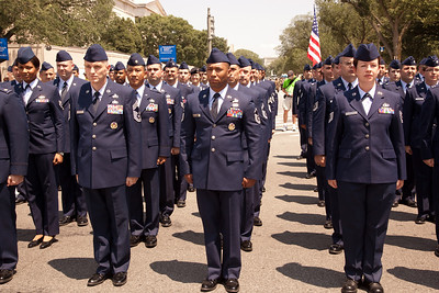 Members of the Air Force  line up for The National Memorial Day Parade in Washington, D.C. on  May 31, 2010.  The parade pays tribute to the pride, sacrifice and service of America's Veterans. The nine-block march along Constitution Avenue featured bands, floats, vintage automobiles and vintage servicemen. (Photo by Jeff Malet)
