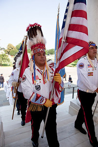 Members of the Blackfeet Warrior Society Veterans of Browning Montana at the Presentation of Colors at Arlington National Cemetery on the day of the 142nd Memorial Day observance at the cemetery on  May 31, 2010 (Photo by Jeff Malet)
