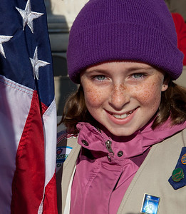 Grace Peterson (age 11) of Arlington VA is the youngest flag bearer.
