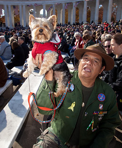 Marine veteran Larry Yepez and his dog appropriately named Louis B Puller