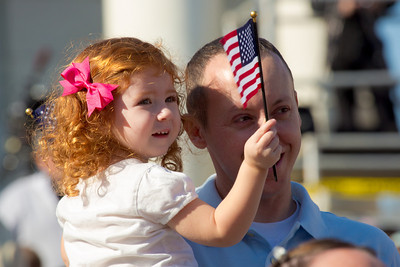 Captain Scott Langlands (US Army) of Boston MA os an Iraq Veteran, and Grace (age 10 mo.)
