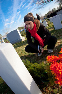 Lindsey Scheff pays respects to former classmate Ryan Casey McGhee. Both attended Massaponax High School in Fredericksburg, Virginia. Army Cpl. McGhee was assigned to the 3rd Battalion, 75th Ranger Regiment, Fort Benning, Georgia. He died from wounds sustained during a firefight with enemy forces while conducting combat operations in Iraq.