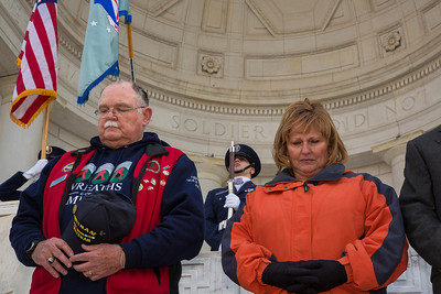 Wayne Hanson, chairman of the board for Wreaths Across America Ann LePage, wife of Maine Gov. Paul LePage