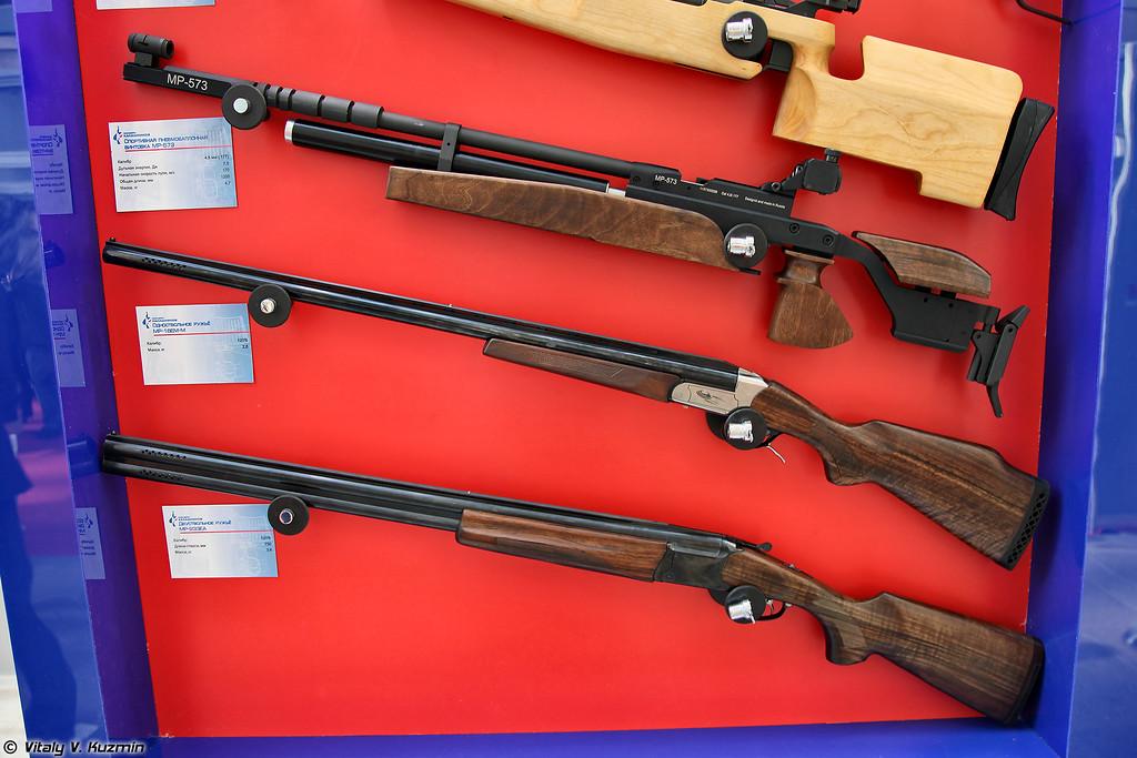 .177 спортивная винтовка МР-573, 12х76 ружья МР-18ЕМ-М и МР-233ЕА (.177 sport air rifle MR-573, 12x76 hunting rifles MR-18EM-M and MR-233EA)