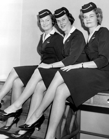 Stewardesses Attending Press Conference. 1963