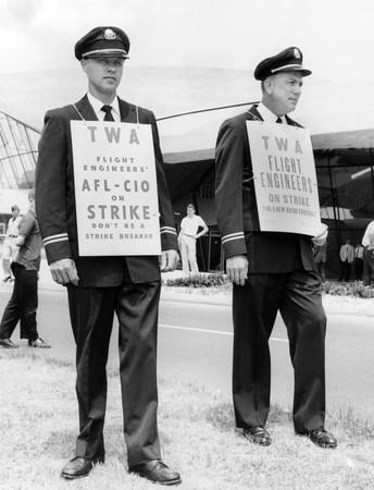 TWA Flight Engineers on Strike. 1962