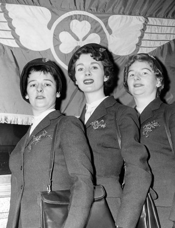 Air Line Stewardesses With the Irish Flag Behind Them. 1959