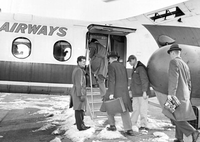 Passengers Boarding The Helicopter at Downtown Heliport. 1962
