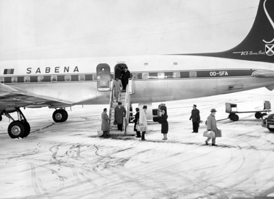 John F. Kennedy Airports: Passenger Deplaning From Sabena Airliner At Idlewild. 1957
