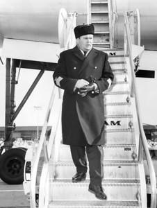 Waskli Tonushkin Walks Down Steps Of Russian Plane. 1965
