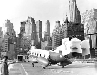 Airports Kenndy:  Helicopter Lands on Landing Strip. 1962