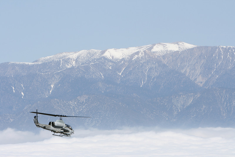 """VFR on top""  AH-1W from HMLA 775 with Big Bear in the background."