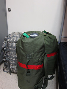 All packed. Two duffel bags about 50 pounds each, one large MOLLE rucksack, and or course my Paradise Rock. This is the morning I left Ft. Benning, GA.