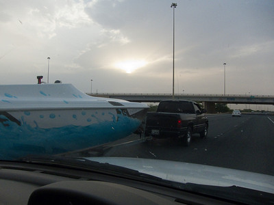 If I told you that was I-35 on the way to Dallas you would probably believe me. Actually this is a pic on one of the main highways on the way to the airport. Nice shark painted boat and Dodge pickup. Who knew Kuwaitis have a lot in common with rednecks.