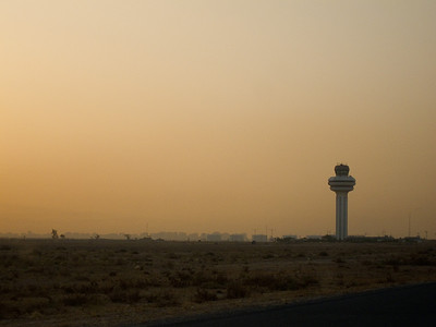 The control tower for Kuwait International Airport. That's the outskirts of Kuwait city on the horizon.