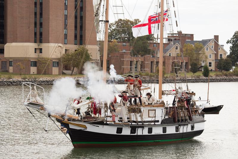 Redcoats aboard a Royal Navy schooner