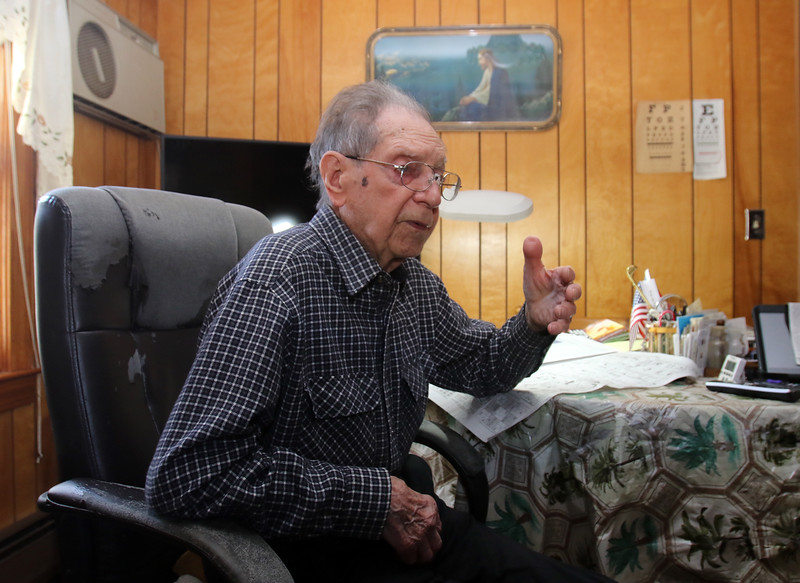WWII veteran Henry Naruszewicz of Lowell, who turns 104 on January 1 or 3 (there's some uncertainty on the date), will be guest and speak about his experience in the Battle of the Bulge, at an event at the Patton Homestead later this month. (SUN/Julia Malakie)