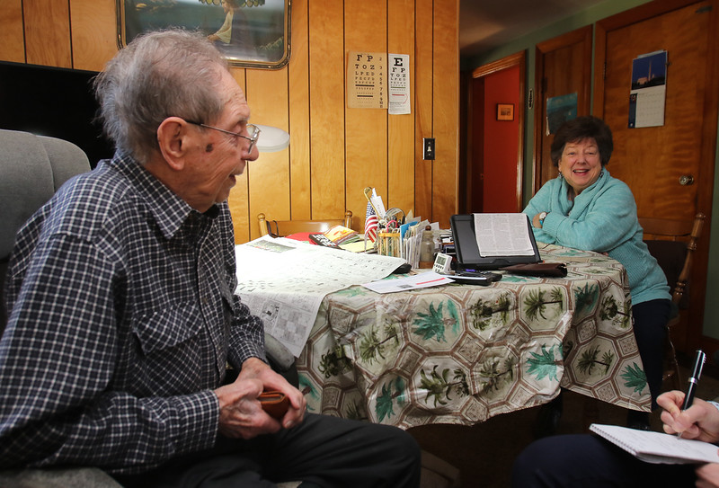 WWII veteran Henry Naruszewicz of Lowell, who turns 104 on January 1 or 3 (there's some uncertainty on the date), will be guest and speak about his experience in the Battle of the Bulge, at an event at the Patton Homestead later this month. At right is his daughter Dottie Flanagan, also of Lowell. (SUN/Julia Malakie)