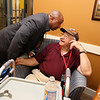 Ribbon cutting and opening ceremony for Bedford Green, housing for homeless and at-risk veterans, on the campus of the Edith Nourse Rogers Memorial Veterans Hospital in Bedford. Residents Michael Sexton, who spoke at the ceremony, and WWII veteran Michael Kaminsky, who was the first to move in. (SUN/Julia Malakie)