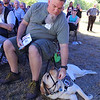 Ribbon cutting and opening ceremony for Bedford Green, housing for homeless and at-risk veterans, on the campus of the Edith Nourse Rogers Memorial Veterans Hospital in Bedford. Ed McHarg of North Reading, and his service dog Ally, during ceremony. (SUN/Julia Malakie)