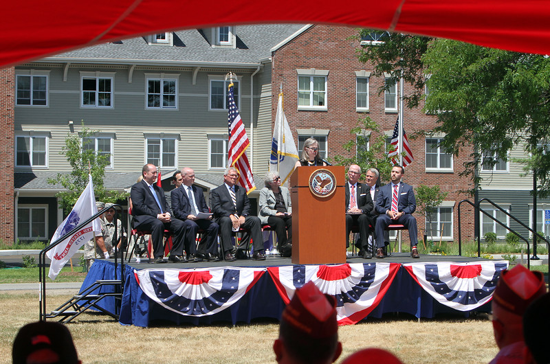 Ribbon cutting and opening ceremony for Bedford Green, housing for homeless and at-risk veterans, on the campus of the Edith Nourse Rogers Memorial Veterans Hospital in Bedford. (SUN/Julia Malakie)