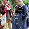 Celebration of 90th anniversary of the Bedford VA begins with a one-mile Salute Parade/Walk around the campus. Aubrey Jaffer of Waltham, left, and Capt. Bill Brimer of Newport, R.I., both with the Billerica Colonial Minute Men. (SUN/Julia Malakie)