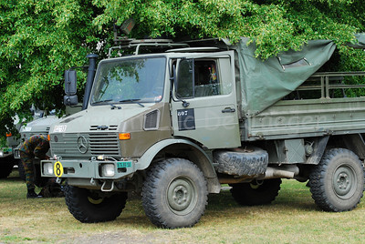 A Unimog vehicle in use by the Belgian paratroopers.