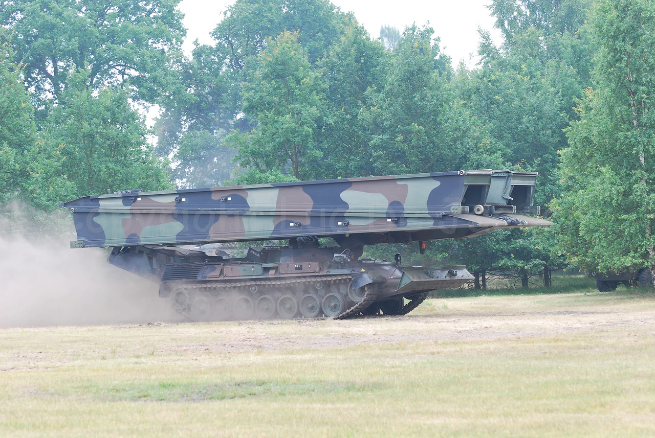 A bridgelayer in use by the Belgium Army and based on the Leopard 1 tank. In as little as 5 minutes this tank can lay a bridge.